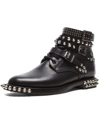 Saint Laurent Rangers Double Studded Leather Low Combat Boots - Lyst