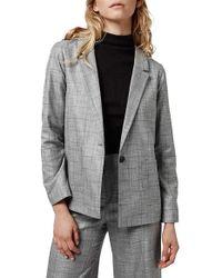 TOPSHOP - 'check Tonic' One-button Suit Blazer - Lyst