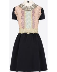 Valentino Dress With Fusion Lace Bib-Front beige - Lyst