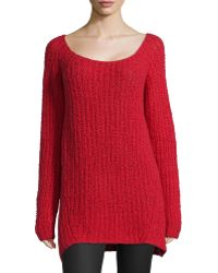Donna Karan New York Long-Sleeve Wide-Neck Sweater - Lyst