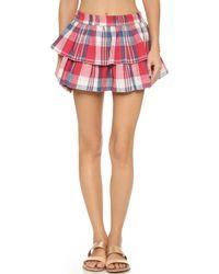 Thayer | Tiered Beach Miniskirt - Plaid | Lyst