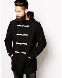 Asos Wool Duffle Coat in Black - Lyst