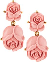 Oscar de la Renta Double Rose Clipon Earrings Blush - Lyst