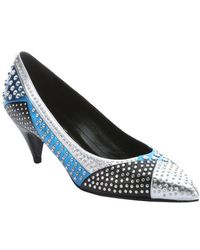 Saint Laurent Silver And Blue Leather Studded Patchwork Kitten Heel Pumps - Lyst