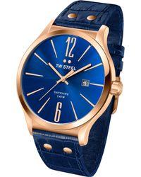 Tw Steel Unisex Slim Line Blue Leather Strap Watch 45mm - Lyst
