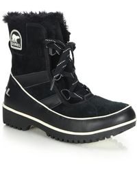 Sorel | Tivoli Ii Faux Fur-trimmed Suede & Leather Lace-up Boots | Lyst