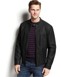 Kenneth Cole Faux-Leather Moto Jacket - Lyst