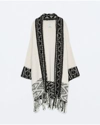 Zara Jacquard Jacket With Fringed Hem - Lyst