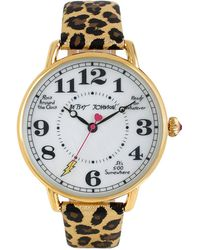 Betsey Johnson - Vintage Dial And Metallic Leopard Leather Strap Watch - Lyst