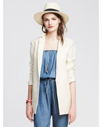 Banana Republic Cream Boyfriend Blazer - Lyst