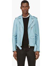 DSquared² Blue Leather Biker Jacket - Lyst