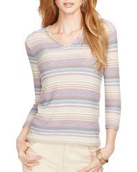 Ralph Lauren Lauren Split Neck Stripe Sweater - Lyst