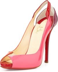 Christian Louboutin Technicatina Peep-toe Combo Red Sole Pump - Lyst
