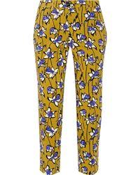Miu Miu Printed Stretch Wool Gabardine Tapered Pants - Lyst