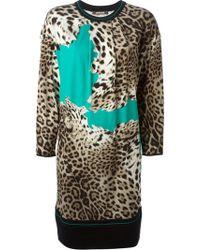 Roberto Cavalli Leopard Print Knit Dress - Lyst