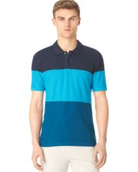 Calvin Klein Colorblock Stripe Knit Polo Stripe - Lyst