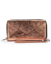Loeffler Randall Metallic Leather Wristlet Wallet - Lyst