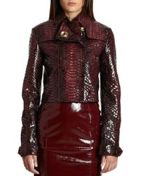 Burberry Prorsum Glazed Pythonembossed Leather Jacket - Lyst