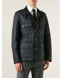 Burberry Brit Leather Trim Quilted Jacket - Lyst