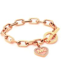 Michael Kors | Logo Heart Charm Pavé Toggle Bracelet | Lyst