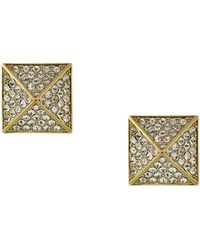 Vince Camuto - Goldtone And Crystal Pyramid Stud Earrings - Lyst