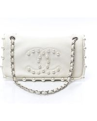 Chanel Pre-Owned Ltd Ed White Lambskin Pearl Medium Flap - Lyst