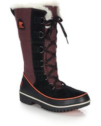 Sorel | Tivoli High Faux Fur-trimmed Canvas & Suede Boots | Lyst
