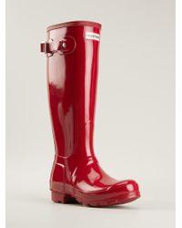 Hunter Patent Wellington Boots - Lyst
