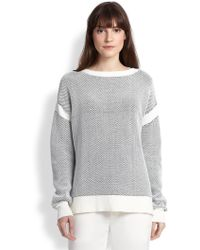 Vince Oversized Contrast-Trimmed Textured Cotton Sweater - Lyst