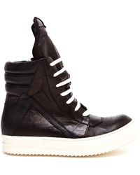 Rick Owens Unisex Cracked Leather Hi-Top Boots - Lyst