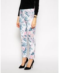 Asos Cigarette Pant in Textured Floral Print - Lyst