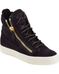 Giuseppe Zanotti Snakeskin-Print Leather High-Top Sneaker - Lyst