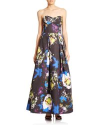 Milly Strapless Bustier Floral-Print Ball Gown multicolor - Lyst