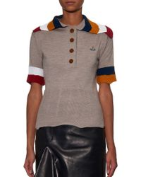 Vivienne Westwood Red Label | Contrast Striped-collar Knit Polo Shirt | Lyst