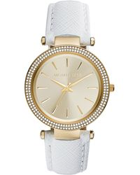 Michael Kors Darci Leather Glitz Watch - Lyst