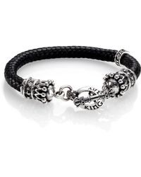 King Baby Studio Braided Leather Crown Toggle Bracelet - Lyst
