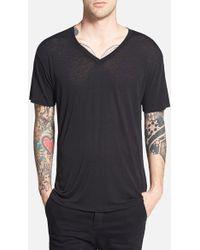 Cheap Monday Burnout V-Neck T-Shirt black - Lyst