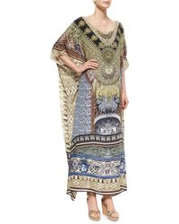 Camilla Printed Beaded Round-neck Caftan Coverup - Lyst
