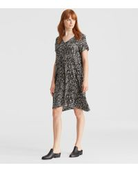 Eileen Fisher - Printed Silk Dress With Tie - Lyst