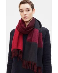Eileen Fisher - Wool Jacquard Striped Scarf - Lyst