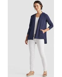 Eileen Fisher - Organic Cotton Jersey Hooded Cardigan - Lyst