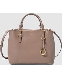 Lauren by Ralph Lauren - Taupe Cowhide Leather Handbag With Long Detachable Strap - Lyst