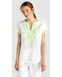 Yera - White Blouse With Contrasting Embroidery - Lyst