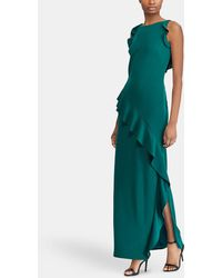 Lauren by Ralph Lauren - Long Dress With Frill - Lyst