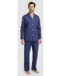 Mirto - Long Blue Fabric Pyjamas - Lyst