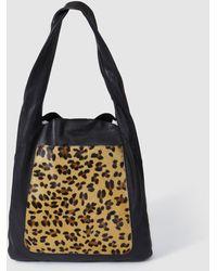 Jo & Mr. Joe - Nude Black Nappa Leather Shopper Bag With Leopard Detail - Lyst