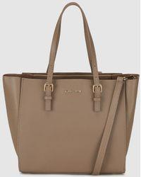Gloria Ortiz - Adam Small Taupe Leather Shopper Bag With Zip - Lyst