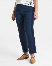 Couchel - Plus Size Navy Blue Jeans With Embroidery - Lyst