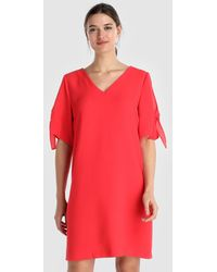 Yera - Short Red Dress With Bows On The Sleeves - Lyst