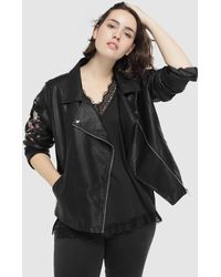 Couchel - Plus Size Biker Jacket With Embroidered Flowers - Lyst